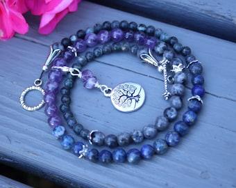 Pregnancy Tracking Necklace - Pick your charm - Starry Sky - Lapis lazuli, amethyst, labradorite
