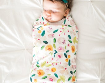 Organic cotton swaddle blanket in Indy Bloom Holly Florals - Blush and Gold Flowers with Green and Emerald Leaves