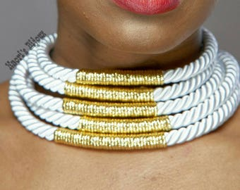 White Rope Shocker Necklace (5 lines)