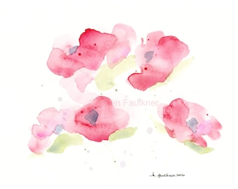 """Watercolor Poppies, """"Misty Morning Poppies"""""""