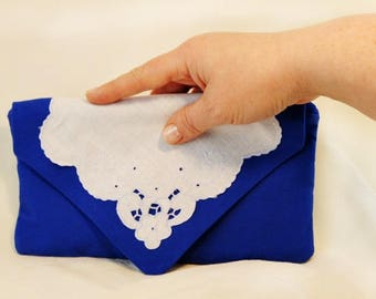 Elegant Blue Envelope Clutch