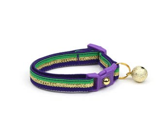 Mardi Gras Cat Collar - Glitter Mardi Gras Stripes - Breakaway Cat Collar - Kitten or Large size