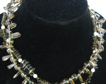Double torsade of Smokey Quartz and freshwater pearls