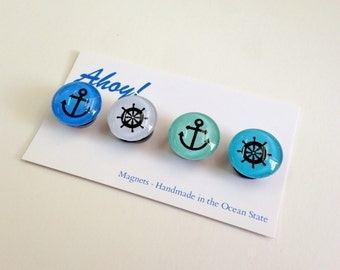 Ahoy Nautical Magnets or push pins - set of 4 anchor and shipwheel silhouettes- beach house - sailor - ocean- cottage- housewarming gift