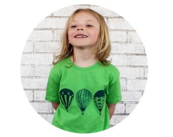 Youth Hot Air Balloon Tee Shirt, Short Sleeved Cotton Crewneck Graphic Tshirt, Toddler Shirt, Hand Screenprinted, Balloon Fiesta, New Mexico