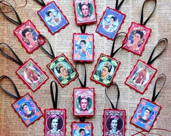 14 Frida Kahlo Medallions for gift tags, framing jewelry crafts- Frida DIY crafts Frida tags Frida paintings Frida jewelry Frida art prints
