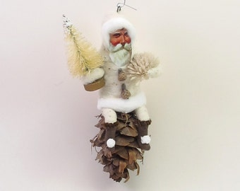 Vintage Inspired Spun Cotton White Pine Cone Santa Ornament (MADE TO ORDER)