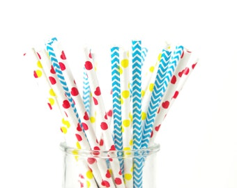 Alice in Wonderland Paper Straws - Mad Hatter Tea Party - Set of 25
