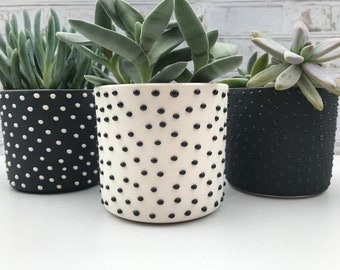 black and white dotted small planter set - made to order - succulent planters - minimalist ceramic planters - modern ceramic planter