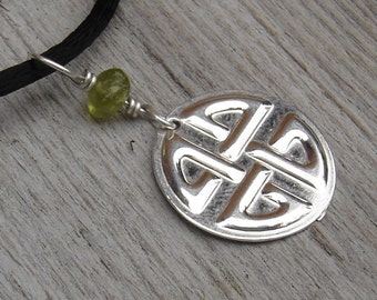 Celtic Knot Pendant Necklace, Sterling Silver and Peridot Celtic Jewelry, Celtic Necklace Saint Patrick's Day Gift for Women, Irish Scottish