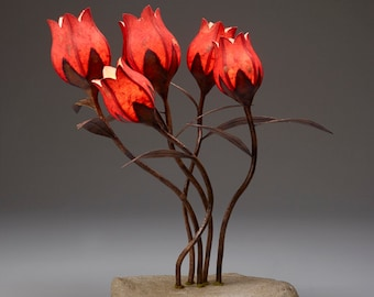 "Five tulips in a hypertufa rock base. ""Wild Flowers"""
