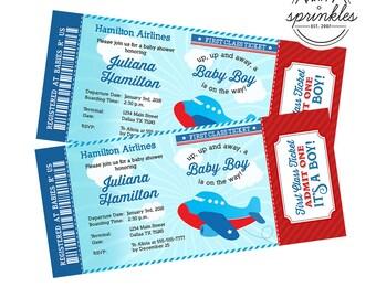 Blue & Red Airplane Plane Boy Baby Shower invitation - Boarding Pass Ticket Invitation - It's a boy