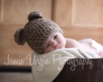 Crochet PATTERN- Newborn and 0-3M Teddy Bear Hat with Ears