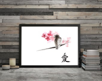 Bird Illustration Calligraphy Love Sign Cherry Blossom Watercolor Painting Pink and Brown Wall Art Print Sparrow and Flowers