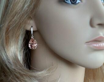 Handmade Blush Pink Swarovski Vintage Rose Pear Crystal Dangle Earrings, Bridal, Wedding (Sparkle-2209)