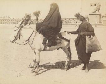 Egypt native woman on donkey antique ethnic albumen photo by Lekegian
