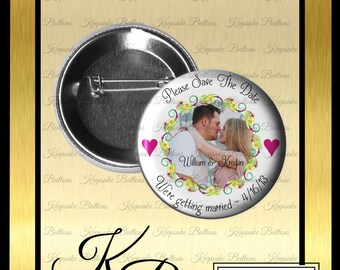 """Save The Date Magnet, 2.25"""" Custom Engagement Announcemet, Wedding Announcement, Photo Magnet, Pin Back Button, Pocket Mirror, Key Chain"""
