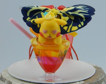 Pokemon Pikachu ピカチュウ Cocktail necklace, with bow, for car, as decoration, key fob suitable, Japan fashion jewelry, anime