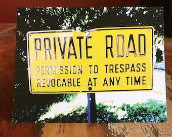 Private Road Note Card