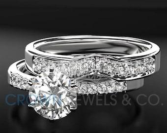 Diamond Engagement Ring And Wedding Band Ladies Bridal Jewelry Set 0.8 Carat Round Brilliant Cut F VS 14K White Gold Setting