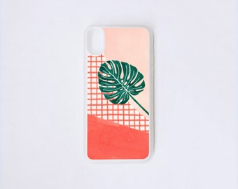 Monstera iPhone X Case - Philodendron iPhone Case - Plant Illustration iPhone X Case - Botanical iPhone Case - Rubber iPhone Case
