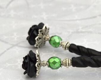 Black Rose Hairsticks   Bella Rosa   Gothic Victorian, black gothic hairsticks, green and black, flower hair sticks, twisted hairsticks