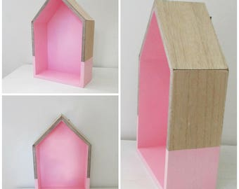Wall shelf shaped pink wooden house