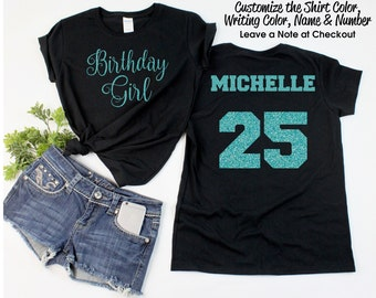 Script Birthday Girl Shirt with ANY AGE and NAME - Personalize the  Colors - All Glitter Option - Birthday Party Shirt