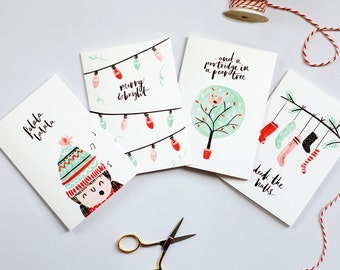 Illustrated Christmas Cards - Set of 8
