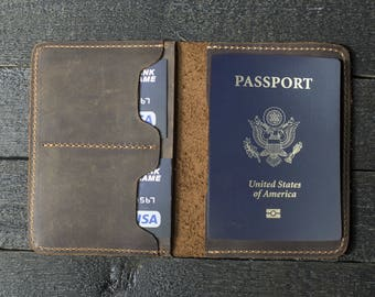 Leather Passport Wallet, Distressed Leather Travel Wallet, Passport Holder, Passport cover, Personalized gift for him