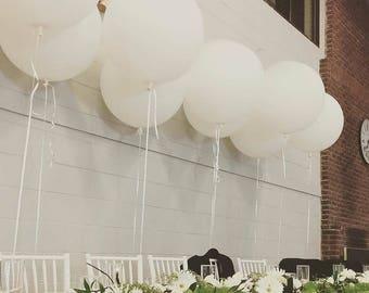 "Set of 6 White HUGE 36"" inch Balloon Latex Round Balloons Big Latex Balloon Wedding Decor & Party Balloon Supplies Photo Prop"