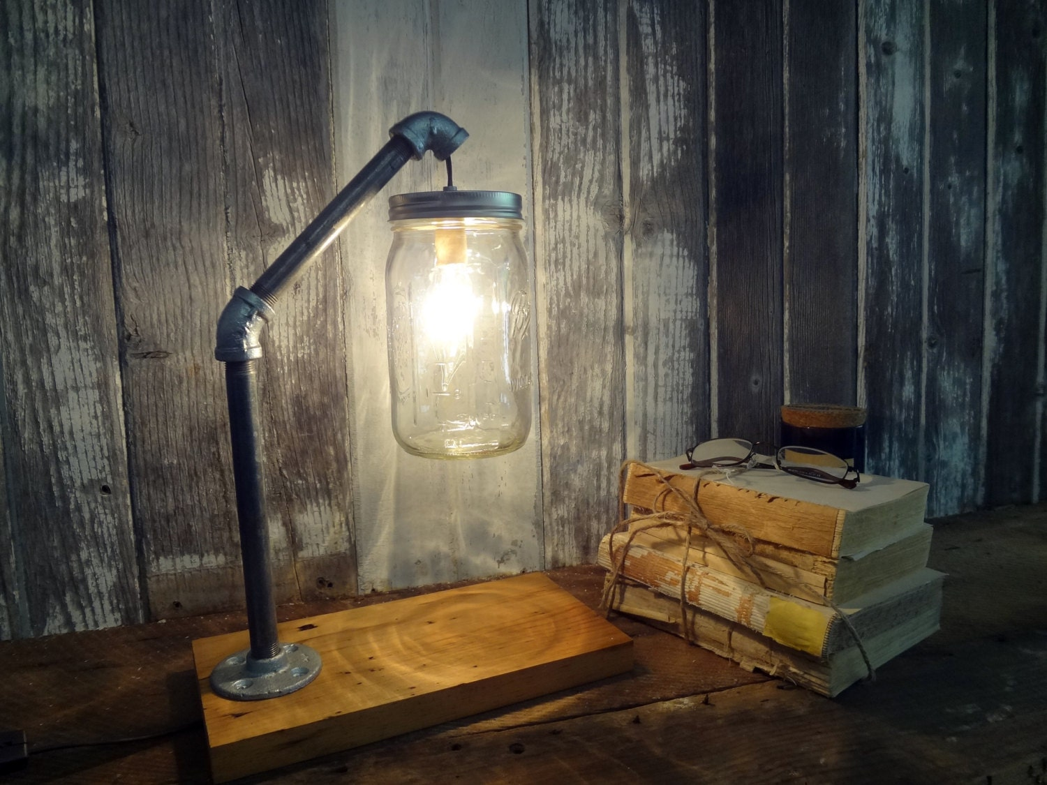 Mason jar desk lamp industrial lamp mason jar light zoom arubaitofo Gallery
