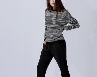 Woman jumper / melange wool jumper woman knit pullover alpaca wool sweater marled sweater gray white black wool sweater / woman wool jumper