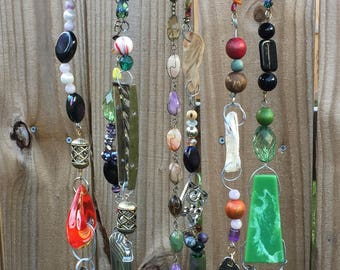 Strainer Wind Chime with Silverware and Recycled Jewelry