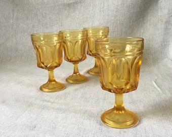 Vintage Anchor Hocking Fairfield Amber Glass Goblets, Set of 4