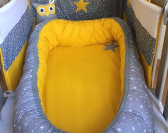 Babynest nest baby gray cotton and white stars yellow