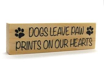 "Dog Paw Print Magnet, Dog Lover Gift Idea, Rustic Dog Magnet, Pet Lover Gift, Paw Prints On Our Hearts, Rectangle Magnet 1.5"" x 5"""