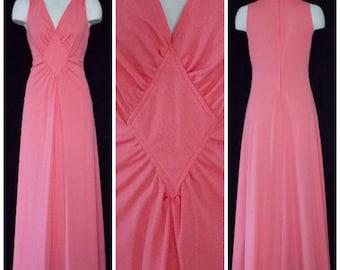 1970s pink sleeveless floor length dress