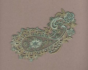 Hand Dyed Venise Lace Paisley Applique Aged Turquoise Bliss