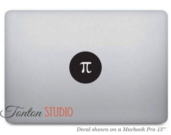 Pi Symbol Macbook Sticker / Pi Math Symbol Macbook Decal / Laptop Notebook Macbook Icon Dot Round Circle Sticker - Removable Vinyl - T061