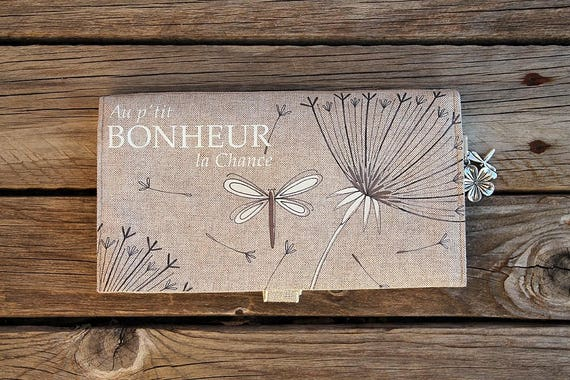 """Checkbook holder in natural linen illustrated Dragonfly """"P"""" little luck happiness """""""