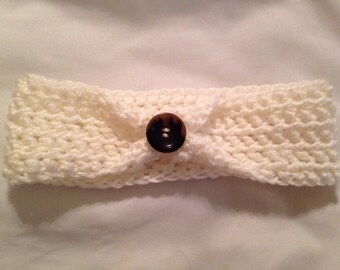 Crocheted Ear Warmer with Button