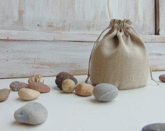 Natural linen storage bag 5x4 inch Fabric Reusable Gift bag Grocery bag Favor