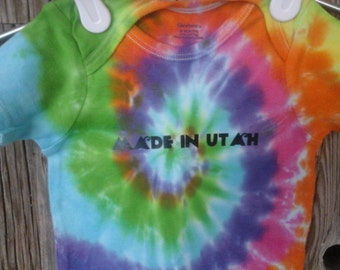 Made in Utah, Tie-Dye Onesie, Pre-Made in 24 Months Dyed in Green, Yellow, and Orange, Pink, Purple, and Blue. Pre-Made and ready to Ship
