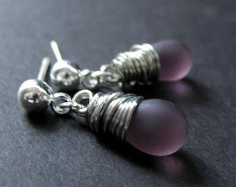 Dangle Earrings : Wire Wrapped Frosted Purple Teardrop Post Earrings in Silver. Handmade Jewelry.