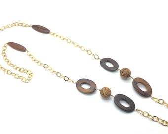 Island Casual, Long Necklace, Resort Wear, Gold Necklace, Handmade Jewelry, Wood in Jewelry, Nuts in Jewelry, Nature in Jewelry, Olive Wood
