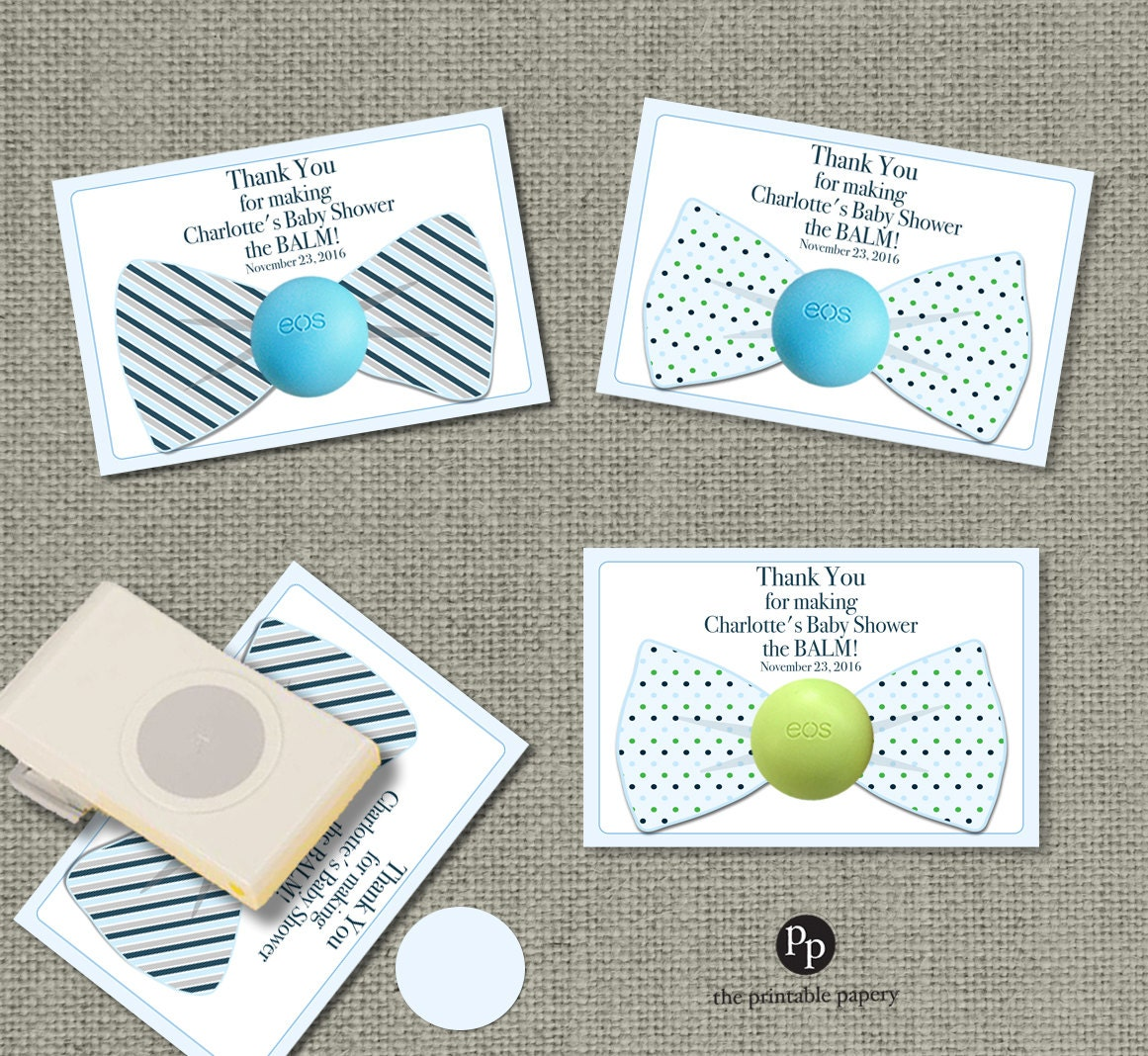 Bow tie baby shower gift tags for eos lip balm gifts thank zoom negle Gallery