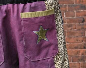 mens patchwork Dude Shorts purple hippie cheetah tribal seven  30 32 34 36 38 40 earthy ready to ship festival burner purple