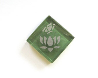 Lotus Flower Butterfly Magnet Silver Etched Green Glass MosaicTileThe Lotus-Butterfly Project