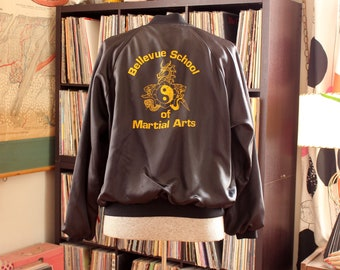 1980s vintage black satin bomber jacket - Bellevue School of Martial Arts